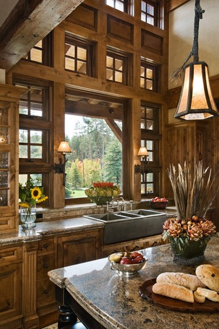 Rustic kitchen traditional kitchen for House plans with kitchen sink window