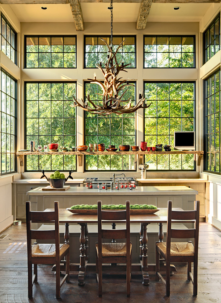 Inspiration for a rustic eat-in kitchen remodel in Birmingham