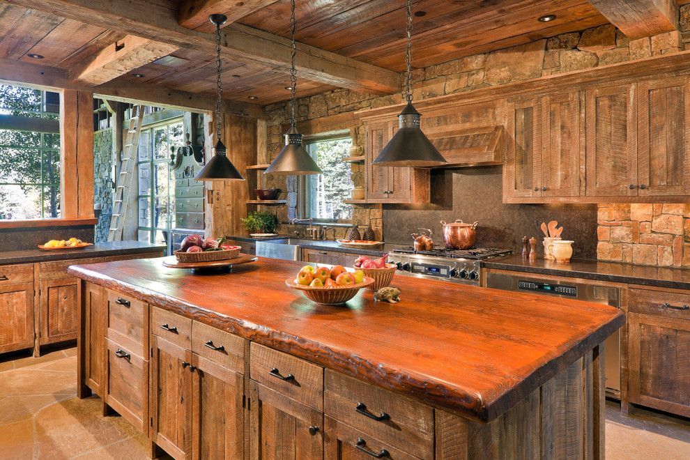 Inspiration for a rustic kitchen remodel in Other with distressed cabinets, wood countertops and brown backsplash