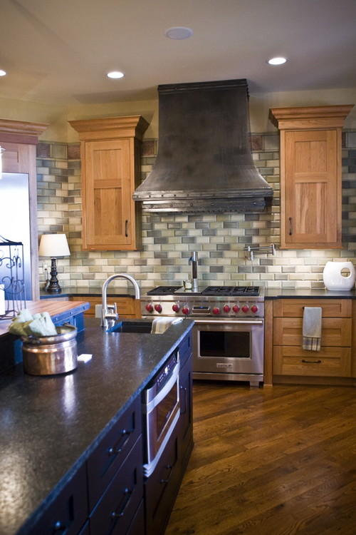 show me your multi colored subway tile backsplash