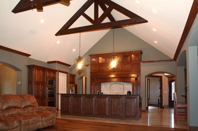 Rustic kitchen open concept floor plan for Concept home builders