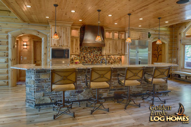 Lakehouse 4166al Rustic Kitchen By Golden Eagle Log