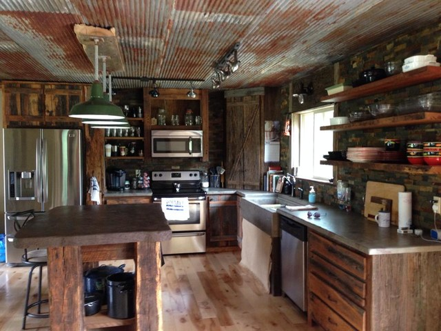 Awesome Hanging Kitchen Cabinets From Ceiling #4: Rustic-kitchen.jpg