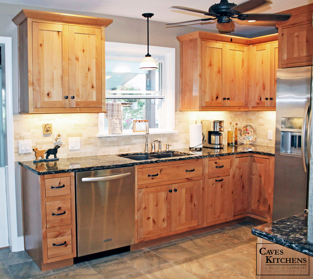 Natural Knotty Pine Kitchen Cabinets: Rustic Knotty Alder Kitchen With Weathered Beams