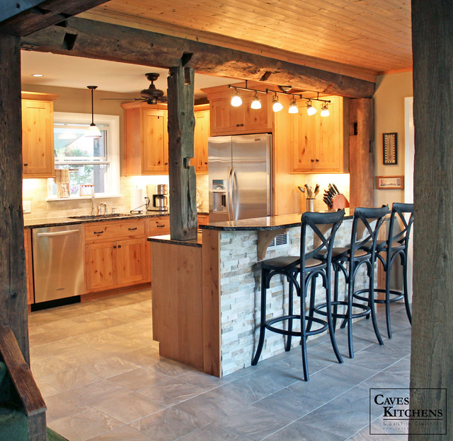 Knotty Pine Kitchen Cabinets For Sale: Rustic Knotty Alder Kitchen With Weathered Beams