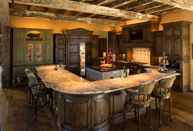 Rustic Lodge style home - rustic - kitchen - houston - by