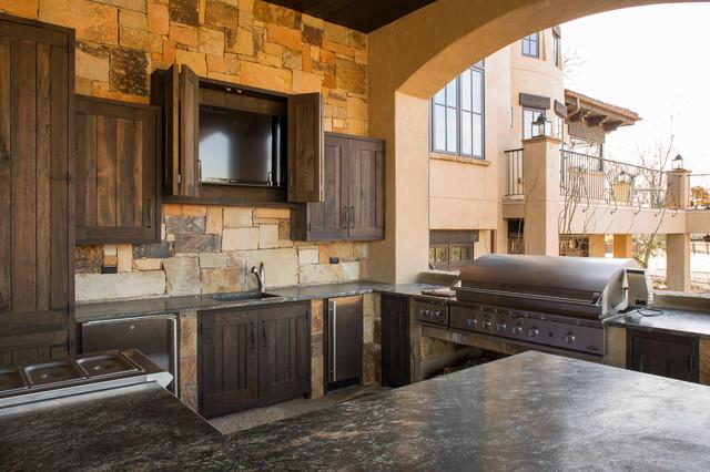 rustic lodge style home montagne cuisine houston par collaborative design group. Black Bedroom Furniture Sets. Home Design Ideas