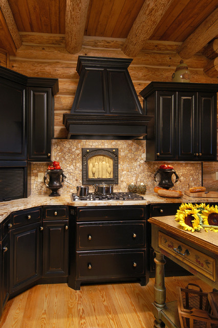Rustic log cabin kitchen for Cabin kitchen cabinets