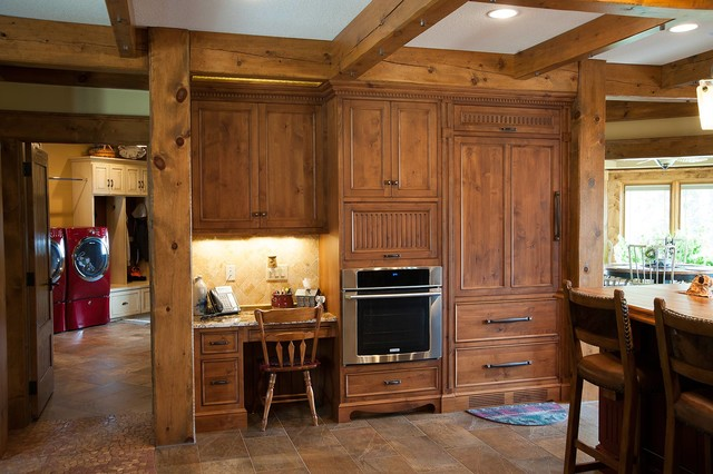 Rustic log home rustic kitchen other metro by for Kitchen cabinets zionsville