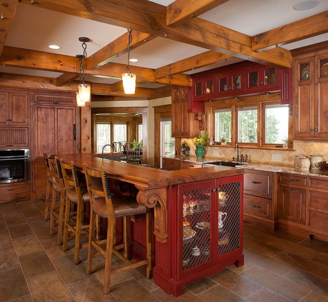 Rustic log home rustic kitchen other metro by for Kitchen ideas for log homes