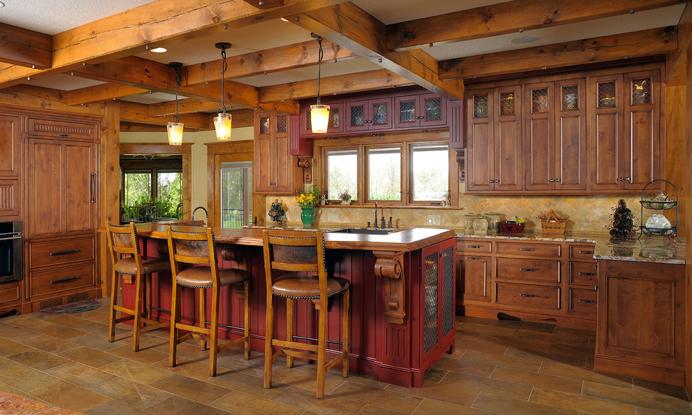 Example of a mountain style kitchen design in Cleveland