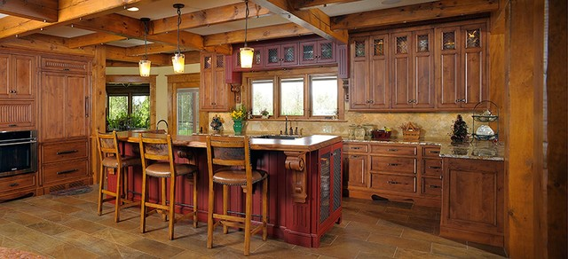 Rustic log home rustic kitchen other by mullet cabinet for Kitchen ideas for log homes