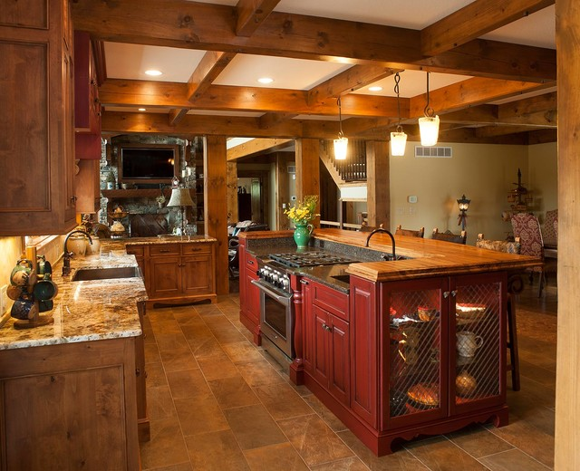 Rustic log home rustic kitchen other by mullet cabinet for Log home kitchens gallery