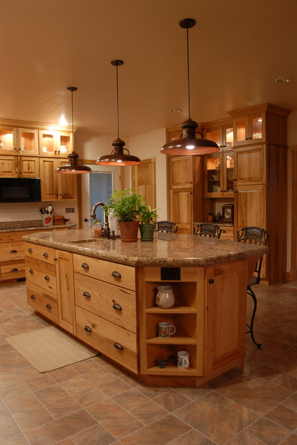 Rustic look with hickory cabinets from kraftmaid rustic for Kitchen design 14x14