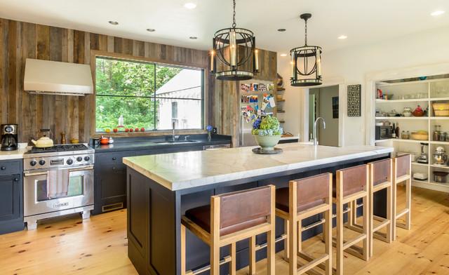 Kitchen Cottage Medium Tone Wood Floor Idea In Boston With A Farmhouse Sink