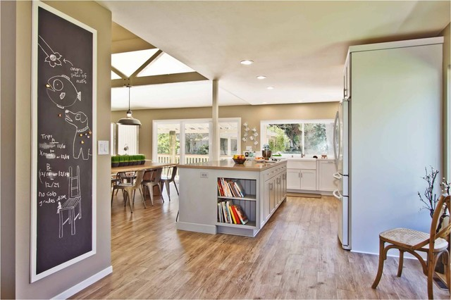Contemporary l shaped open concept kitchen idea in San Diego with a  farmhouse sink Vinyl Flooring Living Room Houzz