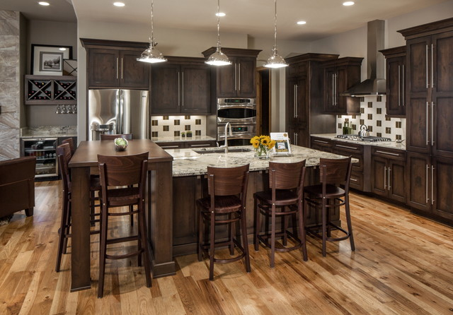 Rustic modern lake house transitional kitchen omaha for Rustic modern kitchen cabinets