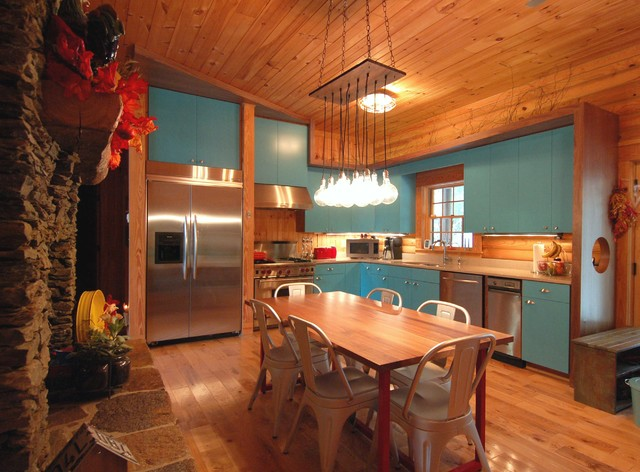 Rustic Modern Log Cabin Kitchen