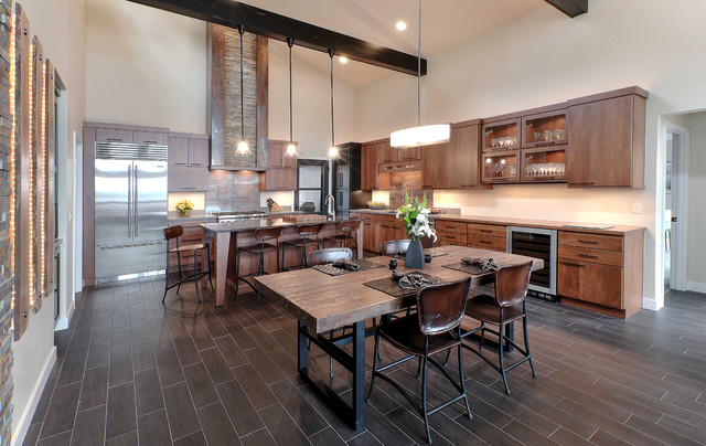 Inspiration for a large rustic l-shaped porcelain floor eat-in kitchen remodel in & Rustic Modern Retreat - Rustic - Kitchen - Other - by Kitchen ...