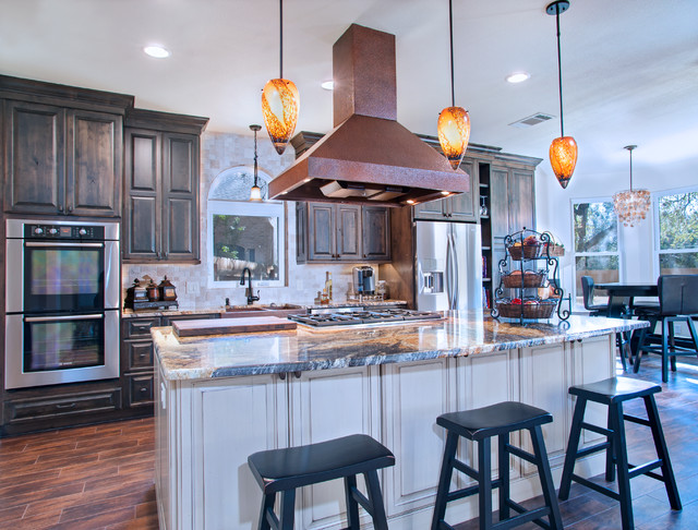 Old World Kitchen With Accent Island & Copper Hood traditional kitchen