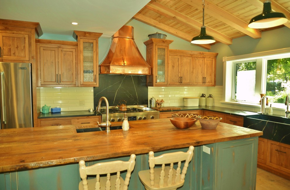Rustic Pine Antique Teal Grey Copper Kitchen Rustic Kitchen Other By Dennison Homes And Bruce County Custom Cabinets