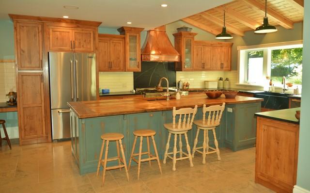 Kitchen. & Rustic Pine/Antique Teal-Grey/Copper Kitchen!