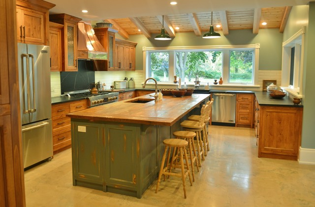Rustic Pine Antique Teal Grey Copper Kitchen! rustic kitchen
