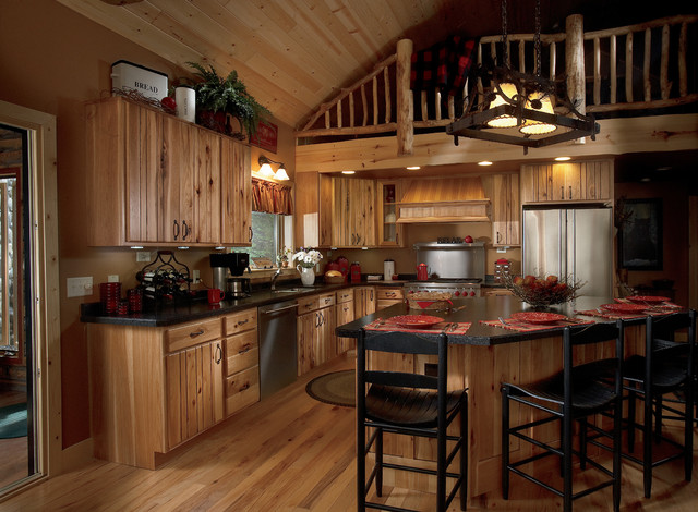 Rustic Plank Hickory Natural with Chocolate Glaze - Rustic - Kitchen - Other - by Woodland Cabinetry