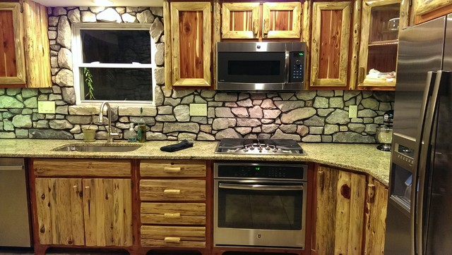rustic red cedar kitchen with cultured stone backsplash rustic kitchen