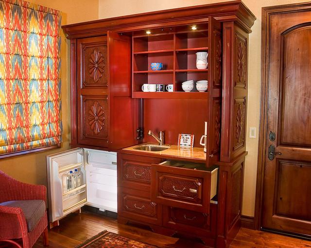 rustic red kitchenette, Kitchen design