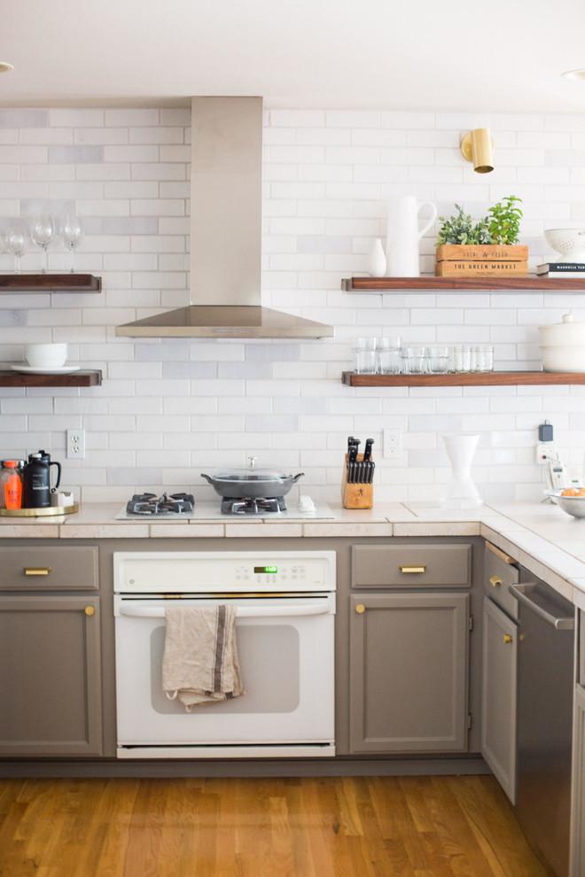 Rustic White Brick Kitchen Backsplash Rustic Kitchen Seattle By Fireclay Tile