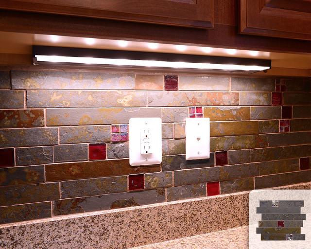 rusty slate subway mosaic red glass kitchen backsplash tile