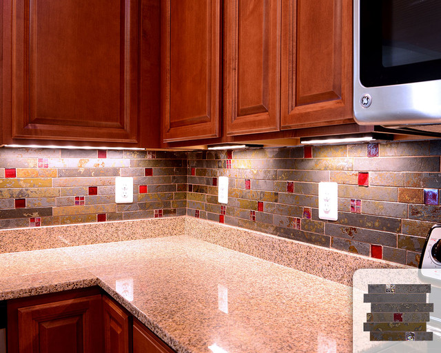 subway mosaic red glass kitchen backsplash tile traditional kitchen