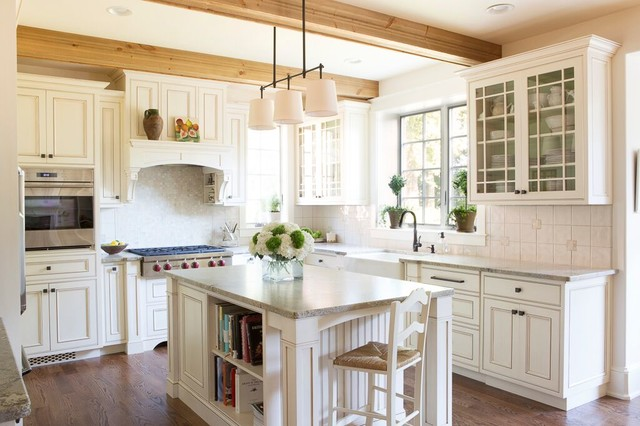 Sage brush leathered traditional kitchen by stone for Brushed sage kitchen cabinets