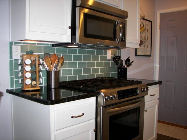 Sage Green 3x6 Subway Glass Tile - Transitional - Kitchen ...