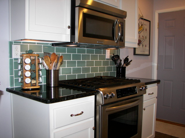 Sage Green 3x6 Subway Glass Tile Transitional Kitchen Hawaii By Design For Less