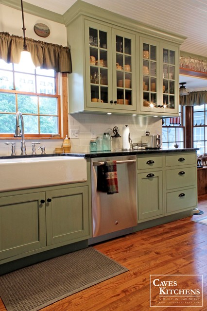 Sage green country cottage kitchen with farmhouse sink for Green kitchen cabinets