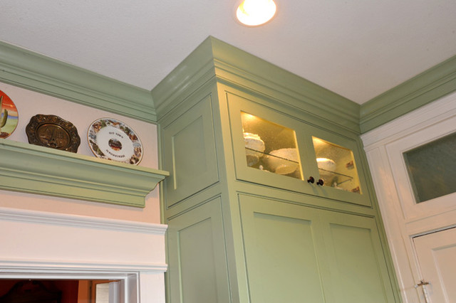 Sage green custom cabinets for Sage green cabinets