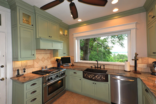 Sage green custom cabinets traditional kitchen for Green kitchen cabinets