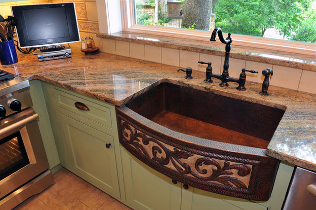 Sage Green Custom Cabinets - Traditional - Kitchen - dallas - by Chip's Kitchens & Baths