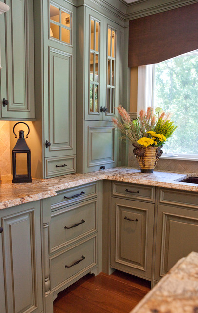 Sage Green Kitchen Renovation St Louis Mo Traditional