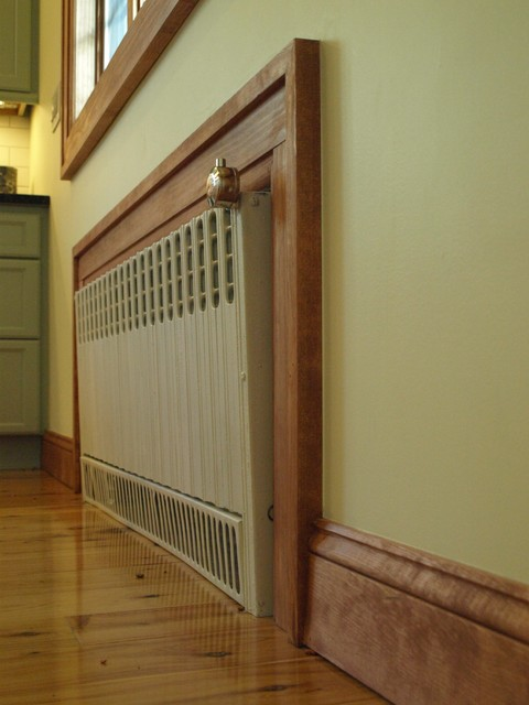 Sandblasted and repainted this radiator is given a new life. traditional-kitchen