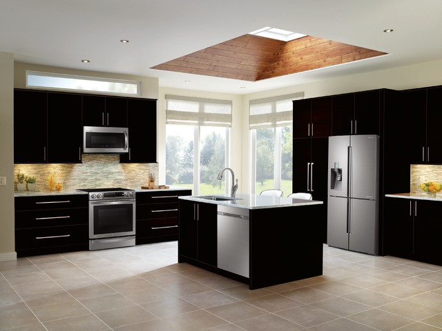 samsung black and stainless steel kitchen - transitional - kitchen