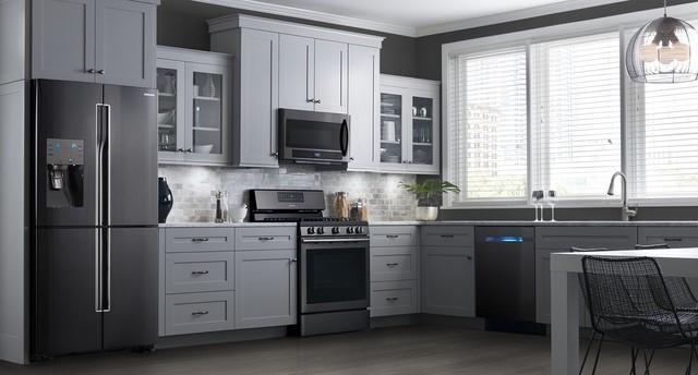 Samsung Black Stainless Steel Appliances - Modern - Kitchen - New ...