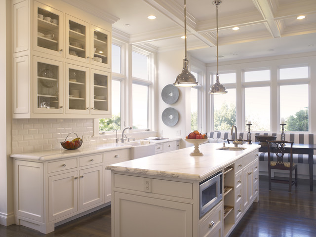 Example Of A Classic Eat In Kitchen Design In San Francisco With Subway  Tile Backsplash