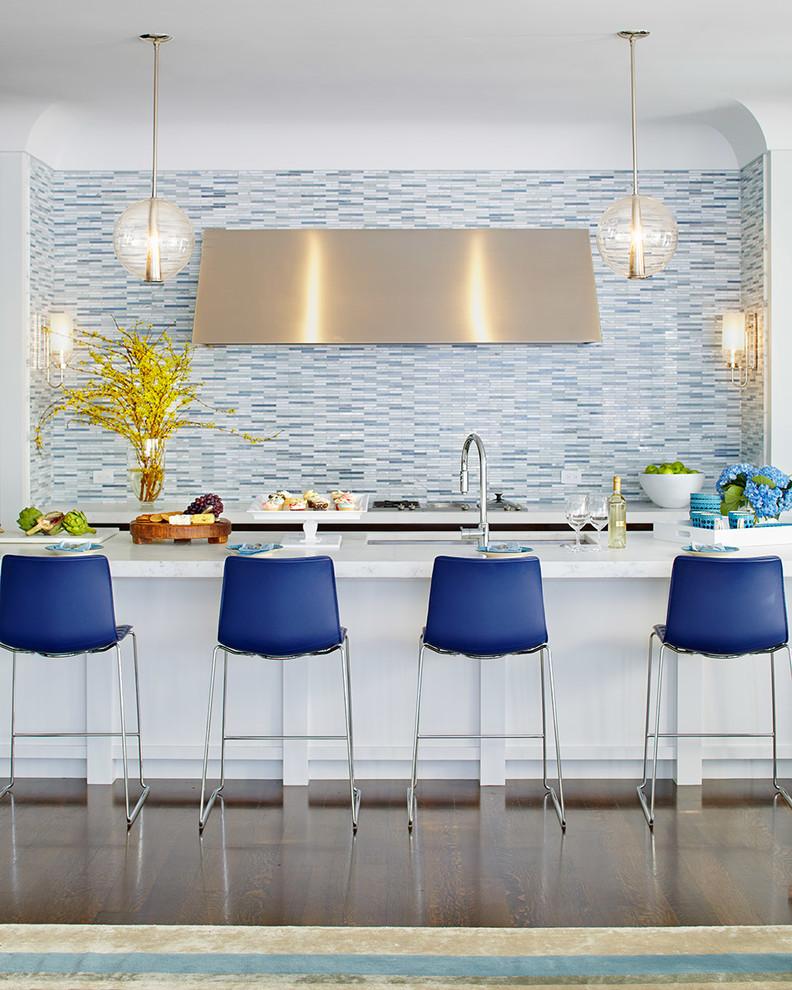 Kitchen - mid-sized transitional galley dark wood floor and brown floor kitchen idea in San Francisco with blue backsplash, matchstick tile backsplash, an island, an undermount sink and quartzite countertops
