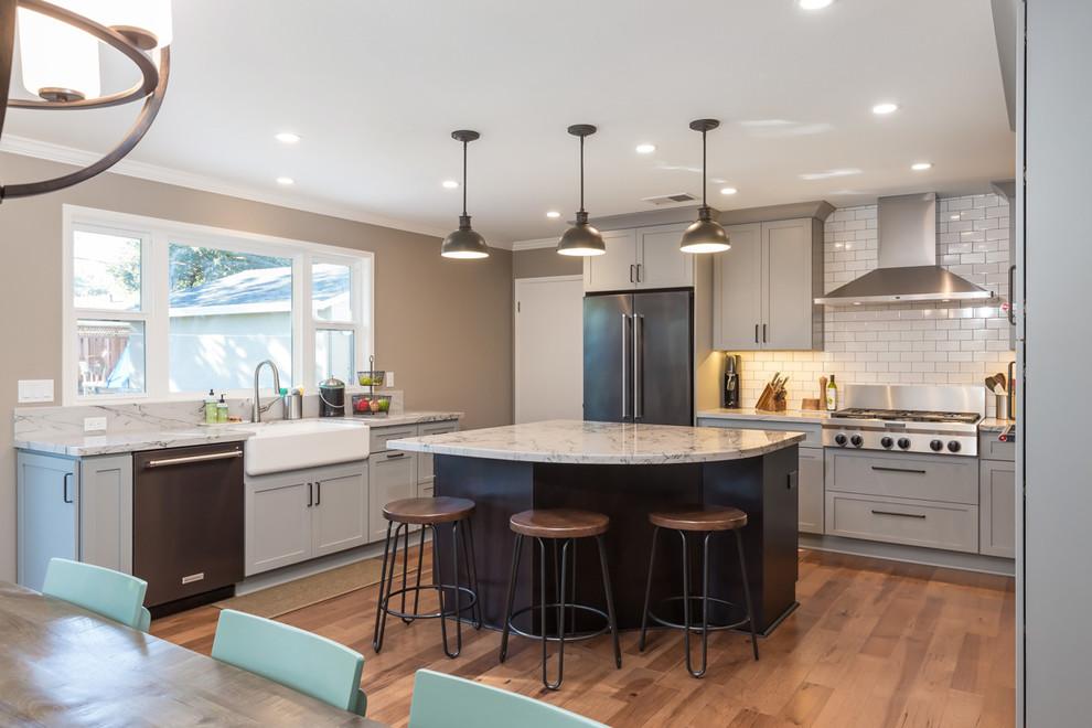 San Jose Traditional Grey & White Kitchen - Traditional ...