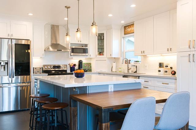 San Jose White Shaker Kitchen Remodel Semi Custom Cabinets Quartz Counter Tops Modern Kitchen San Francisco By Visionary Home Remodeling Inc