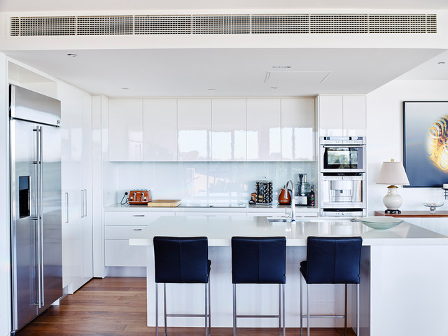 White High Gloss Kitchen Cabinets Diamond Sandyhill Apartment Contemporary Melbourne By