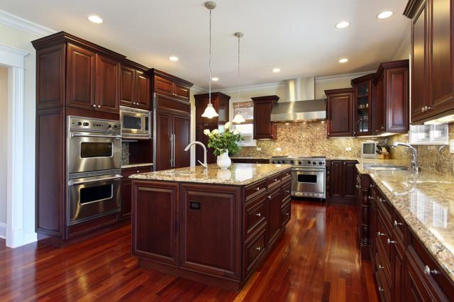 ... Cecilia Granite Countertop with full back splashes traditional-kitchen
